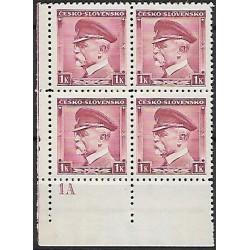 352.,Dč1A,čtbl, T.G.Masaryk, ČESKO - SLOVENSKO,**,
