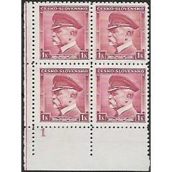352.,Dč1,čtbl, T.G.Masaryk, ČESKO - SLOVENSKO,**,