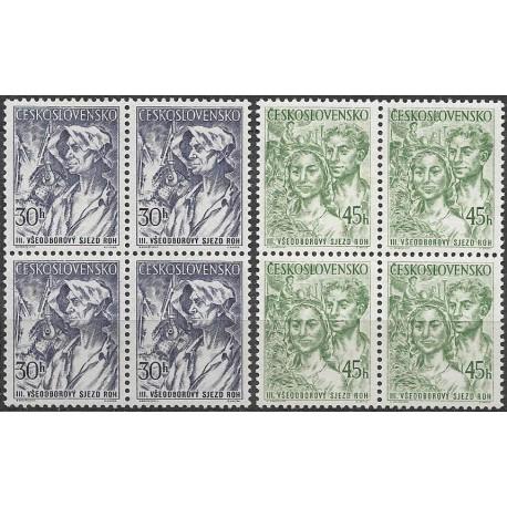 827- 828./2/,,čtbl, III. Všeodborový sjezd v Praze,**,