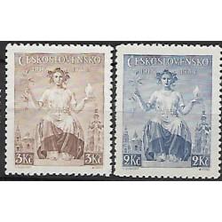 348- 349./2/ 20. výročí vydání prvních čs. známek,**,