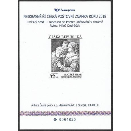 AČP 23.2016 suvenýr ANKETY ČESKÉ POŠTY , nejkrásnější poštovní známka roku 2016
