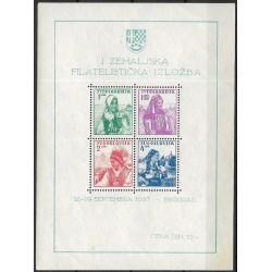 Jugoslávie Jugoslavija 336- 339. Bl1 /4/1/, 1. filatelistická výstava 1937,**,