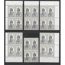 2621-2625./5/,čtbl,sestava, Dobové kostýmy ze starých rytin,**,