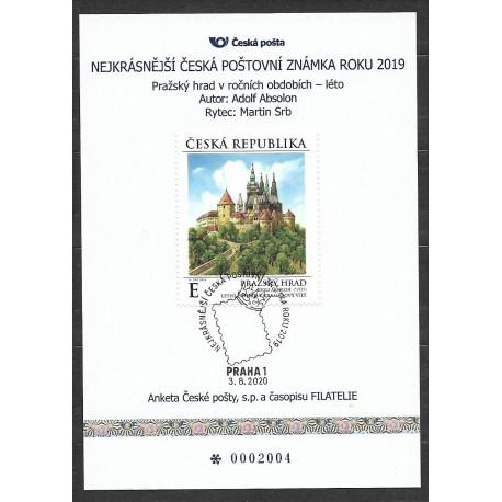 AČP 26.2019 suvenýr ANKETY ČESKÉ POŠTY , nejkrásnější poštovní známka roku 2019
