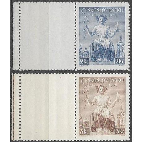 348- 349./2/,KL, 20. výročí vydání prvních čs. známek,*,
