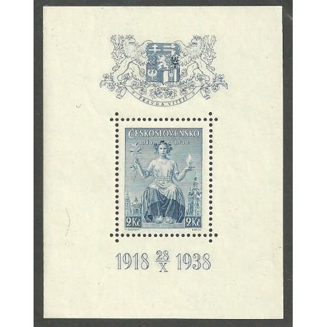 347.,A, 20. výročí vydání prvních čs. známek,**,