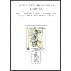 AČP 2. suvenýr ANKETY ČESKÉ POŠTY , nejkrásnější poštovní známka roku 1995,o,