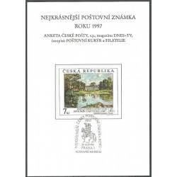 AČP 4. suvenýr ANKETY ČESKÉ POŠTY , nejkrásnější poštovní známka roku 1997,o,
