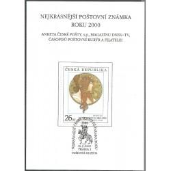 AČP 7. suvenýr ANKETY ČESKÉ POŠTY , nejkrásnější poštovní známka roku 2000,o,