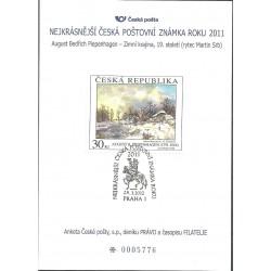 AČP 18. suvenýr ANKETY ČESKÉ POŠTY , nejkrásnější poštovní známka roku 2011,