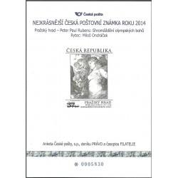 AČP 21. suvenýr ANKETY ČESKÉ POŠTY , nejkrásnější poštovní známka roku 2014,o-,
