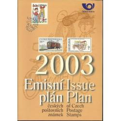 Emisní plán českých poštovní známek na rok 2003,